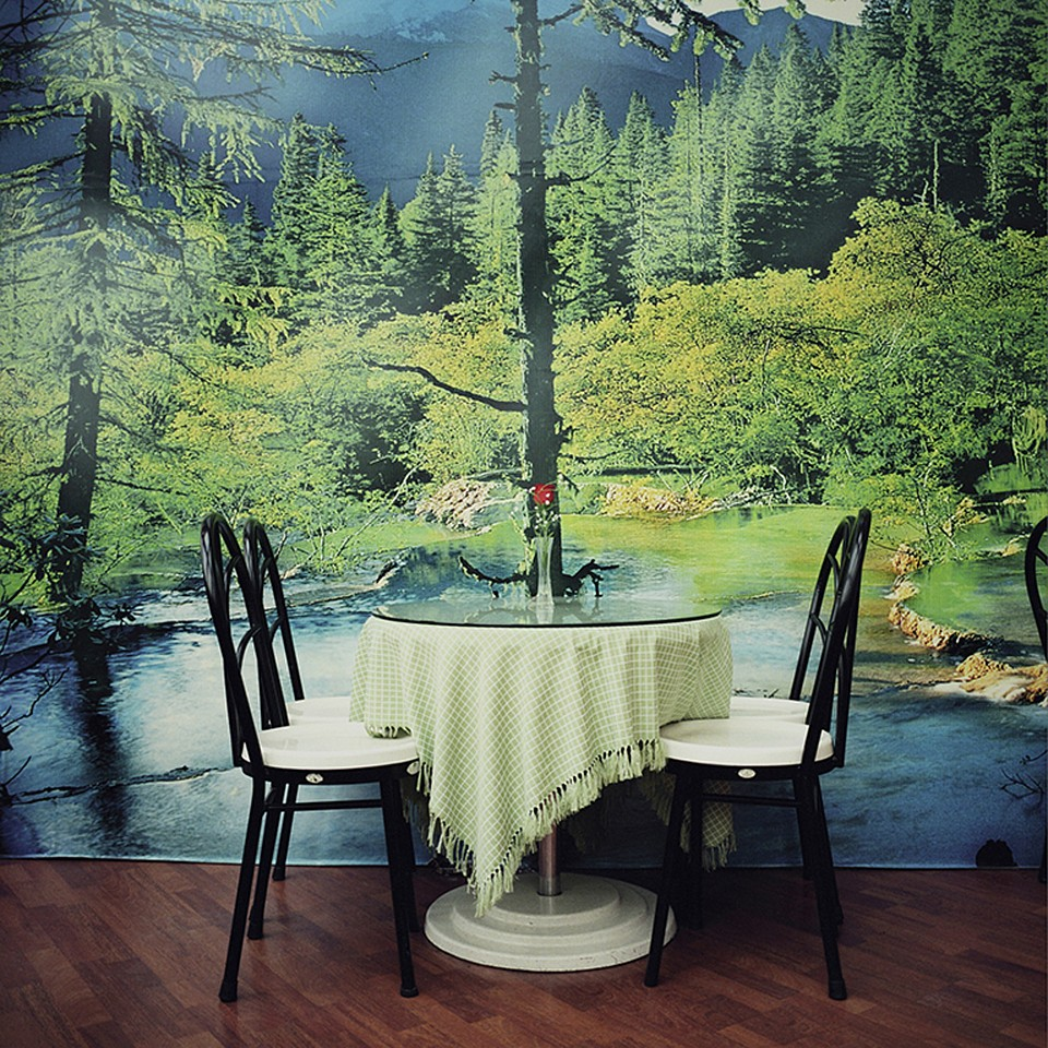 Nina Korhonen ,   Restaurant Table Against the Green Forest, China      Fine Art Pigment Print from scanned negative ,   (60 x 60 cm)     Signed, titled, dated and numbered in edition of 5, China 2004- 2016, Monkey to Monkey © Nina Korhonen     $2,800