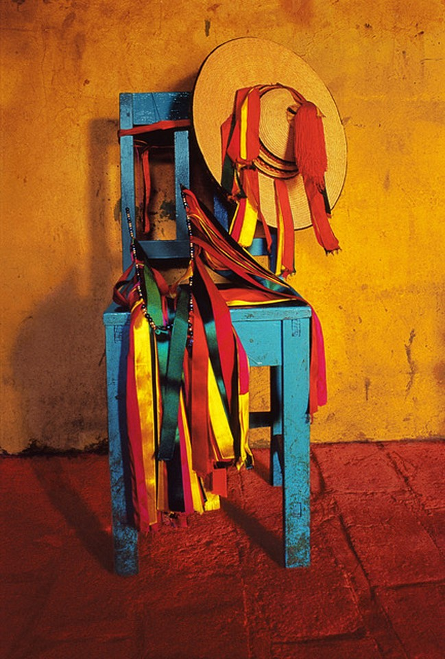 Jeffrey Becom ,   Curandero's Chair, San Juan Chamula, Chiapas, Mexico  ,  1995     Ilfochrome print ,  20 x 16 in.     From series Maya Color; signed, titled, dated and numbered in edition of 25, © 1995     $1,500